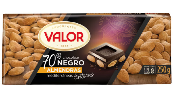 70% Dark Chocolate with Almonds, 250 g